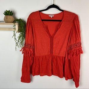 Lucky Brand orange blouse size XL boho hippie